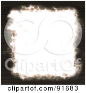 Royalty Free RF Clipart Illustration Of A White Piece Of Paper With Dark Burnt Edges by Arena Creative