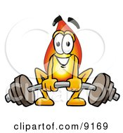 Flame Mascot Cartoon Character Lifting A Heavy Barbell