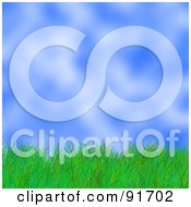 Royalty Free RF Clipart Illustration Of A Background Of Green Grass Against A Blurry Sky by Arena Creative