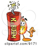Flame Mascot Cartoon Character Standing With A Lit Stick Of Dynamite