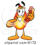 Clipart Picture Of A Flame Mascot Cartoon Character Holding A Telephone