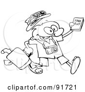 Royalty Free RF Clipart Illustration Of An Outlined Traveling Toon Guy Running With His Luggage And Passport by gnurf