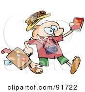 Excited Toon Guy Running With His Luggage And Passport
