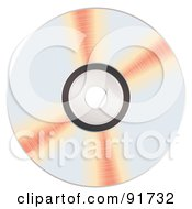 Royalty Free RF Clipart Illustration Of Orange Reflecting On A Shiny CD by michaeltravers