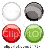 Royalty Free RF Clipart Illustration Of A Digital Collage Of Four Shiny Beer Bottle Cap App Buttons by michaeltravers