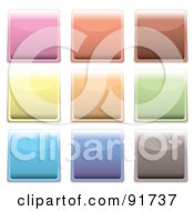 Royalty Free RF Clipart Illustration Of A Digital Collage Of Pastel Shiny Square App Buttons by michaeltravers