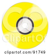 Royalty Free RF Clipart Illustration Of A Shiny Yellow CD by michaeltravers
