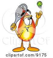 Flame Mascot Cartoon Character Preparing To Hit A Tennis Ball