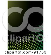 Royalty Free RF Clipart Illustration Of A Curve Of Green Halftone Dots On Black by michaeltravers