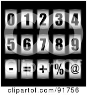 Royalty Free RF Clipart Illustration Of A Digital Collage Of 3d Black And White Ticker Counter Digits And Symbols by michaeltravers