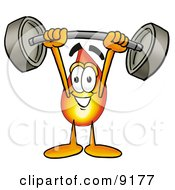 Flame Mascot Cartoon Character Holding A Heavy Barbell Above His Head