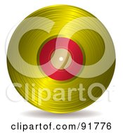 Royalty Free RF Clipart Illustration Of A Gold And Red Record Album by michaeltravers