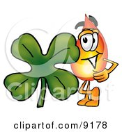 Flame Mascot Cartoon Character With A Green Four Leaf Clover On St Paddys Or St Patricks Day