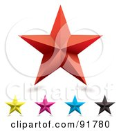 Royalty Free RF Clipart Illustration Of A Digital Collage Of Five Colorful Stars With Shadows