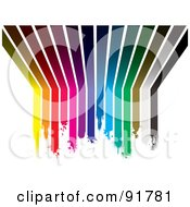 Royalty Free RF Clipart Illustration Of A Background Of Dipping Rainbow Paint Lines Curving From A Wall Up Onto A Ceiling by michaeltravers