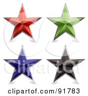 Royalty Free RF Clipart Illustration Of A Digital Collage Of Four Colorful Metal Bevel Stars With Shadows by michaeltravers