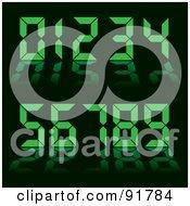 Collage Of Green Digital Clock Numbers On Black