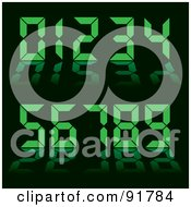 Royalty Free RF Clipart Illustration Of A Collage Of Green Digital Clock Numbers On Black