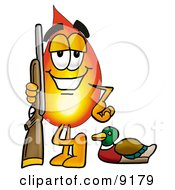 Flame Mascot Cartoon Character Duck Hunting Standing With A Rifle And Duck