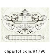 Royalty Free RF Clipart Illustration Of A Digital Collage Of Swirly Text Boxes And Flourish Design Elements Over A Beige Floral Background