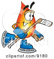 Flame Mascot Cartoon Character Playing Ice Hockey