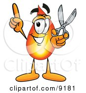 Flame Mascot Cartoon Character Holding A Pair Of Scissors