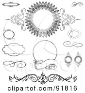 Royalty Free RF Clipart Illustration Of A Digital Collage Of Black And White Flourishes Swirls And Text Boxes by BestVector
