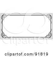 Royalty Free RF Clipart Illustration Of A Blank White Text Box With A Gray Border And Black Swirl Corners