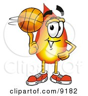 Flame Mascot Cartoon Character Spinning A Basketball On His Finger