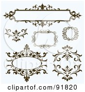 Royalty Free RF Clipart Illustration Of A Digital Collage Of Brown Ornate Text Boxes And Flourish Design Elements On Blue by BestVector