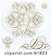 Royalty Free RF Clipart Illustration Of A Digital Collage Of Brown Swirl And Snowflake Designs On Gray by BestVector