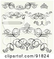 Royalty Free RF Clipart Illustration Of A Digital Collage Of Black And White Header And Footer Flourishes