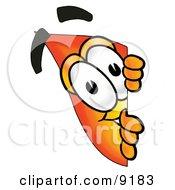 Flame Mascot Cartoon Character Peeking Around A Corner