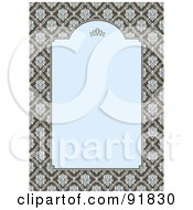 Royalty Free RF Clipart Illustration Of A Vertical Blue And Brown Damask Invitation Background by BestVector
