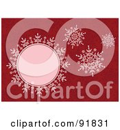 Royalty Free RF Clipart Illustration Of Four Pink Snowflakes Over A Red Snowflake Background by BestVector
