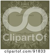 Royalty Free RF Clipart Illustration Of An Olive Green Text Box Over Floral Designs