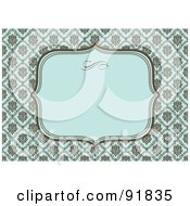 Royalty Free RF Clipart Illustration Of A Horizontal Blue And Brown Damask Invitation Background