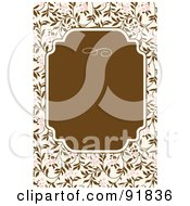 Royalty Free RF Clipart Illustration Of A Brown Text Box Over Pink And Brown Floral Vines