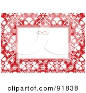 Royalty Free RF Clipart Illustration Of A White Text Box With A Red And White Floral Background