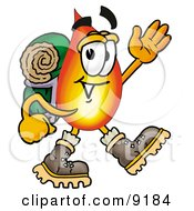 Clipart Picture Of A Flame Mascot Cartoon Character Hiking And Carrying A Backpack