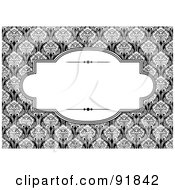 Royalty Free RF Clipart Illustration Of An Elegant Text Box Over A Black And White Floral Background