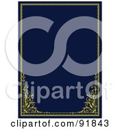 Royalty Free RF Clipart Illustration Of A Navy Blue Background Bordered With Golden Edge And Corners
