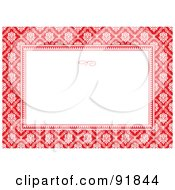 Royalty Free RF Clipart Illustration Of An Invitation Template Background With A Red And White Damask Pattern by BestVector