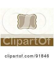 Royalty Free RF Clipart Illustration Of A Blank Tan Text Box Over A Faint Damask Pattern And Brown Lines