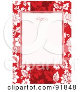 Royalty Free RF Clipart Illustration Of A Blank Text Box Over A Red Tropical Floral Background by BestVector