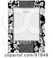 Royalty Free RF Clipart Illustration Of A Blank Text Box Over A Grayscale Tropical Floral Background