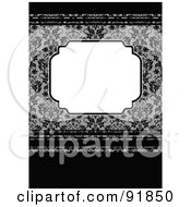 Royalty Free RF Clipart Illustration Of A Blank Text Box Over A Gray And Black Floral And Stripe Background