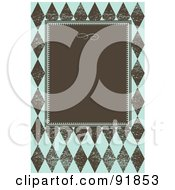 Royalty Free RF Clipart Illustration Of A Brown Text Box On A Distressed Blue And Brown Diamond Pattern by BestVector