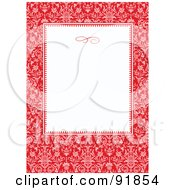 Red Elegant Floral Border Around A Blank White Text Box