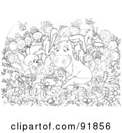 Royalty Free RF Clipart Illustration Of A Black And White Pig And Donkey Coloring Page Outline by Alex Bannykh